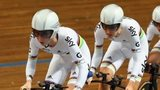 Laura Trott of Great Britain leads team-mates Dani King, Elinor Barker and Katie Archibald in the final