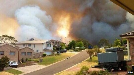 Bushfire as seen from Stapylton Street in Springwood, NSW, Australia 19 October 2013