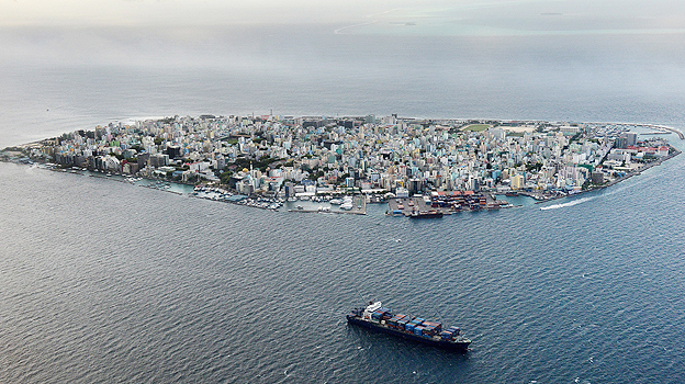 Aerial view of Male, capital of the Maldives