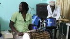 "Malian percussionist Bouramasy Diabate and British drummer Pauli ""The PSM"". Photo taken by Manuel Toledo, BBC Africa"