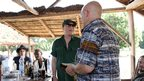Salif Keita gives Brian Eno a present. Photo taken by Manuel Toledo, BBC Africa