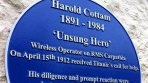 Harold Cottam blue plaque