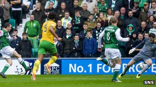 Paul Heffernan scores for Hibernian against Celtic