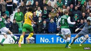 Paul Heffernan scores for Hibernian against Celtic