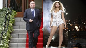 Scotland's First Minister Alex Salmond and singer Beyonce
