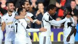 Swansea celebrate during the win over Sunderland