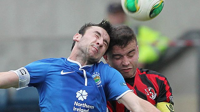 Linfield's Michael Gault in action against Crusaders Colin Coates