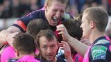 Cardiff Blues lock Bradley Davies leads their celebrations