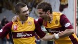 Motherwell striker Craig Moore (left)
