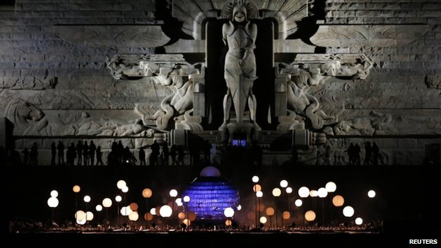 The Battle of the Nations monument was illuminated on the eve of the anniversary