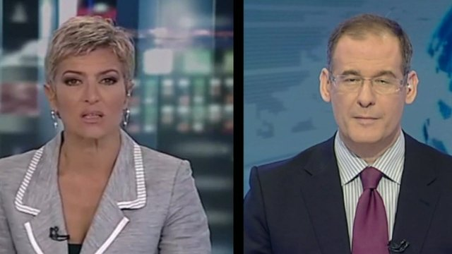Presenters from two Greek state broadcasters operating simultaneously
