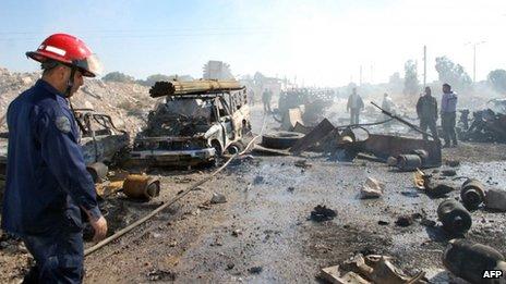The blast left widespread destruction