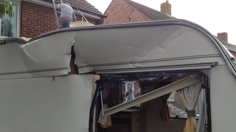 Caravan damaged by 'tornado'