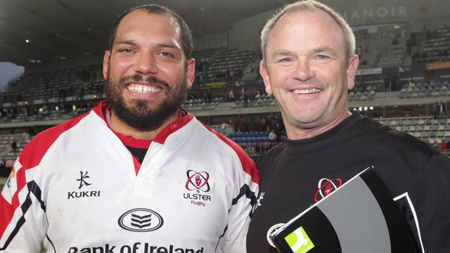 Ulster forward John Afoa with coach Mark Anscombe