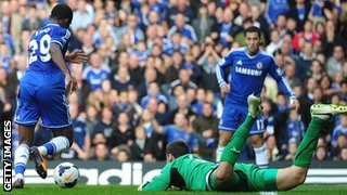 David Marshall is left sprawled on the turf as Chelsea score their equaliser