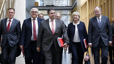 SPD Chairman Sigmar Gabriel walks to exploratory talks with the CDU. 17 Oct 2013