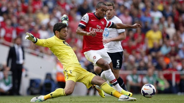 Hugo Lloris tackles Theo Walcott