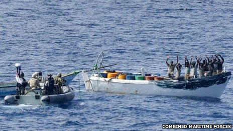 HMAS Melbourne's boarding team approaches suspected pirates
