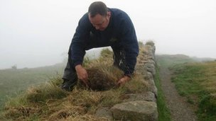Stonemason on Hadrian's Wall