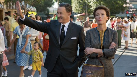 Tom Hanks as Walt Disney and Emma Thompson as author PL Travers in Saving Mr Banks