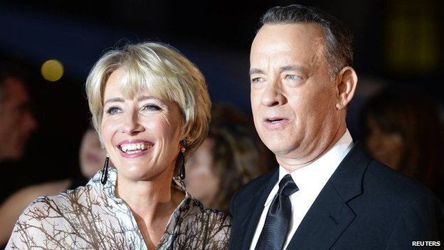 Emma Thompson and Tom Hanks arrive for the world premiere of Saving Mr Banks in London