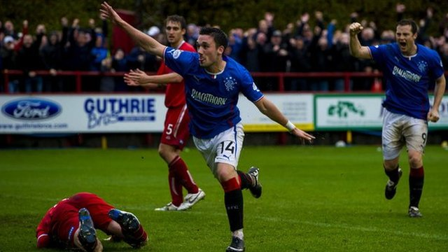 Nicky Clark celebrates after scoring for Rangers against Brechin City