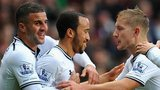 Andros Townsend (second left) is congratulated by Tottenham team-mates after his goal at Aston Villa