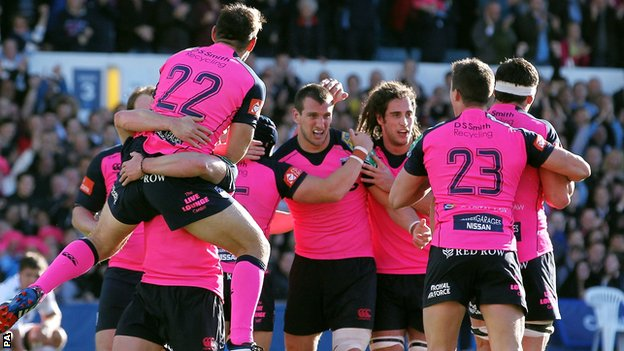 Cardiff Blues celebrate victory over Toulon