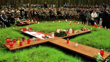 A memorial ceremony on the site of the mass graves in Katyn. File photo