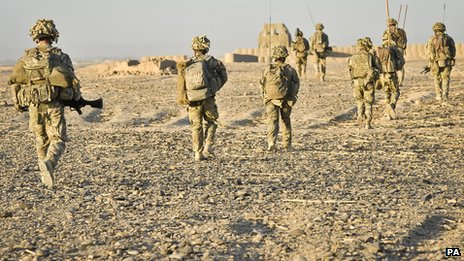 1st Battalion Royal Regiment Fusiliers on patrol in Afghanistan on 5 October 2013