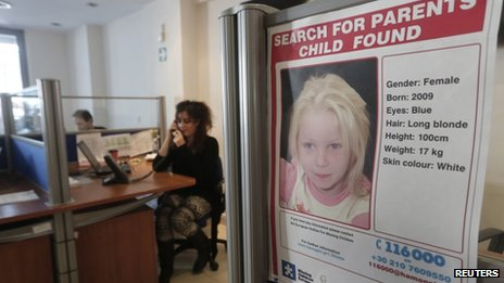 Poster of Maria in Athens office of Smile of the Child charity (19 Oct 2013)