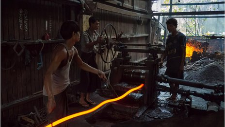 Workers at a workshop in Burma