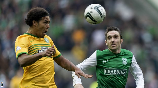 Virgil van Dijk (left) in action against Hibs