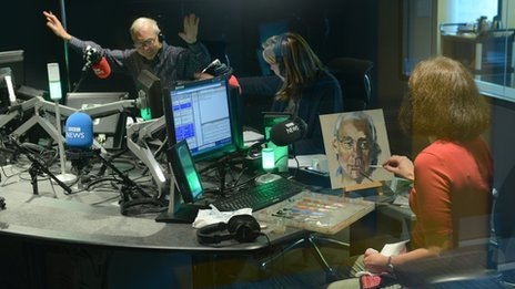 Stella Tooth in the Today studio painting John Humphrys