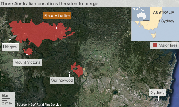 Map showing the location of three fires in the vicinity of Sydney that may merge