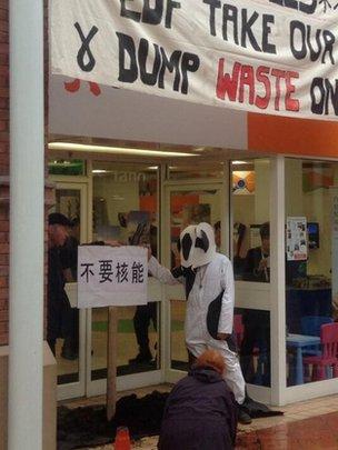 Anti-nuclear campaigners target an EDF showroom in Bridgwater
