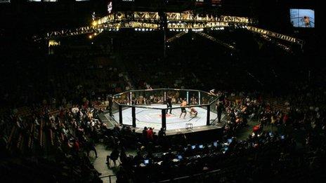 A UFC fight in progress