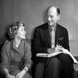 Joan Plowright and John Gielgud preparing for a radio version of a Sophocles play in 1959