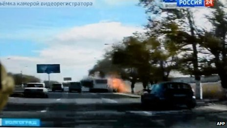 Russian TV footage said to show Volgograd bomb blast, 21 Oct