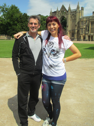 Paris Lees and her stepfather at Newstead Abbey