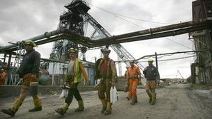 Workers at Hatfield Colliery near Doncaster