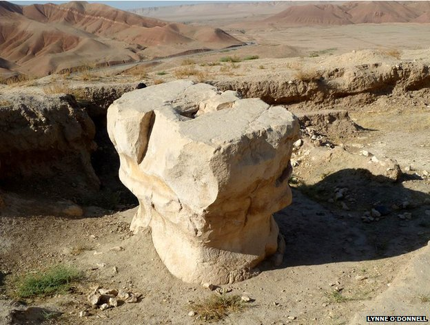 The anvil-shaped Zoroastrian altar of Cheshma-e-Shifa, Balkh, Afghanistan.