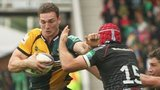 Northampton's George North tackled by Ospreys' Richard Fussell