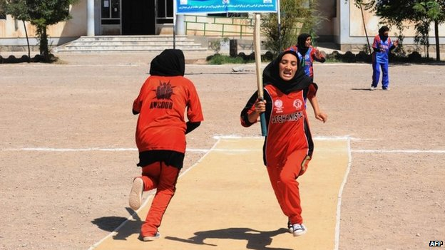 Afghan girls play cricket in Herat