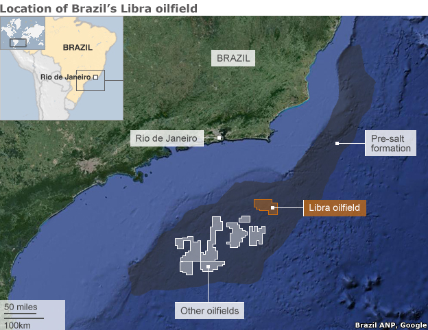 Map showing the location of the Libra oilfield off the coast of Brazil