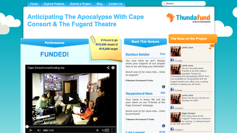 The Cape Consort's page on Thundafund website