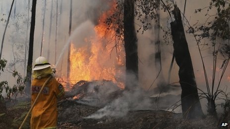 A fire fighter works to control flames near houses in Bilpin, Australia, 22 October 2013