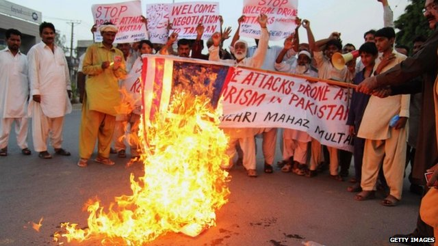 Protests against drones in Pakistan - file image - August 2013