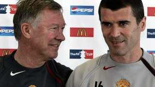 Sir Alex Ferguson and Roy Keane at Manchester United press conference