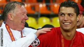 Sir Alex Ferguson and Cristiano Ronaldo celebrate Champions League success